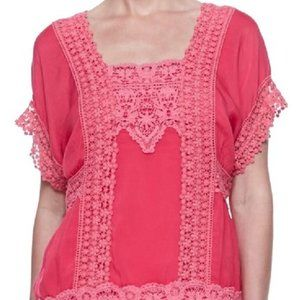Johnny Was Pink Georgette Blouse 1X